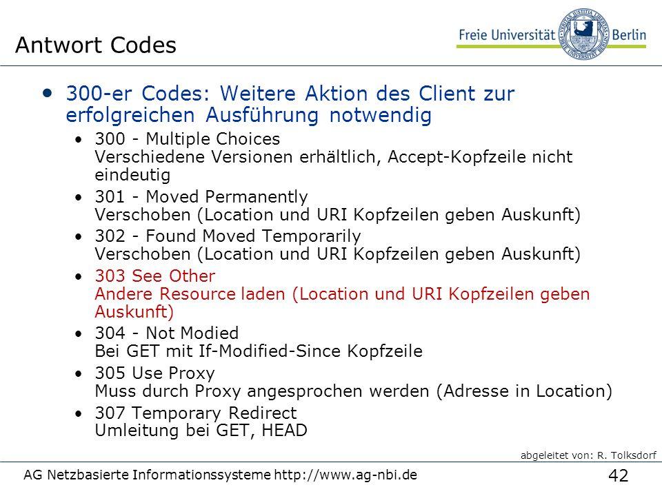 42 300-er Codes: Weitere Aktion des Client zur erfolgreichen Ausführung notwendig 300 - Multiple Choices Verschiedene Versionen erhältlich, Accept-Kop