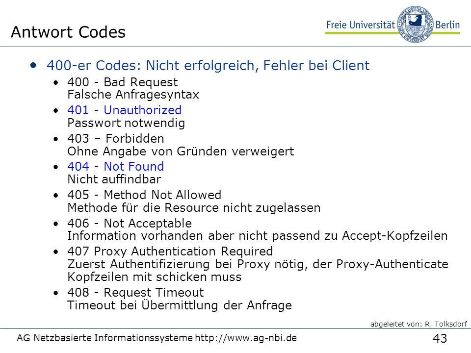 43 400-er Codes: Nicht erfolgreich, Fehler bei Client 400 - Bad Request Falsche Anfragesyntax 401 - Unauthorized Passwort notwendig 403 – Forbidden Oh