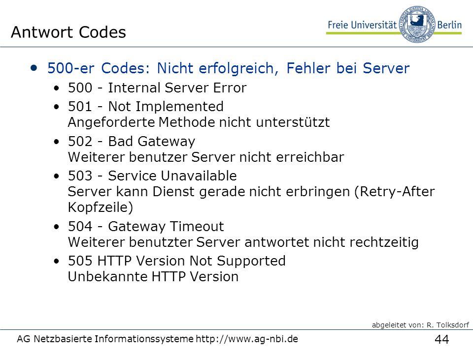 44 500-er Codes: Nicht erfolgreich, Fehler bei Server 500 - Internal Server Error 501 - Not Implemented Angeforderte Methode nicht unterstützt 502 - Bad Gateway Weiterer benutzer Server nicht erreichbar 503 - Service Unavailable Server kann Dienst gerade nicht erbringen (Retry-After Kopfzeile) 504 - Gateway Timeout Weiterer benutzter Server antwortet nicht rechtzeitig 505 HTTP Version Not Supported Unbekannte HTTP Version AG Netzbasierte Informationssysteme http://www.ag-nbi.de Antwort Codes abgeleitet von: R.