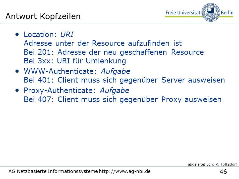 46 AG Netzbasierte Informationssysteme http://www.ag-nbi.de Antwort Kopfzeilen Location: URI Adresse unter der Resource aufzufinden ist Bei 201: Adresse der neu geschaffenen Resource Bei 3xx: URI für Umlenkung WWW-Authenticate: Aufgabe Bei 401: Client muss sich gegenüber Server ausweisen Proxy-Authenticate: Aufgabe Bei 407: Client muss sich gegenüber Proxy ausweisen abgeleitet von: R.