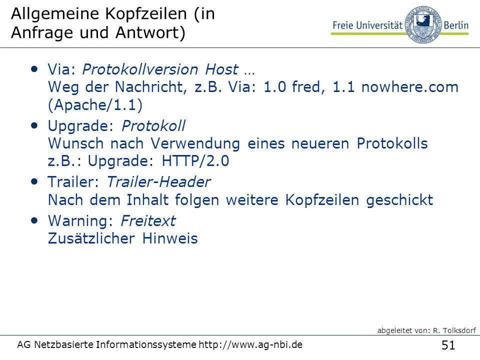 51 AG Netzbasierte Informationssysteme http://www.ag-nbi.de Allgemeine Kopfzeilen (in Anfrage und Antwort) Via: Protokollversion Host … Weg der Nachri