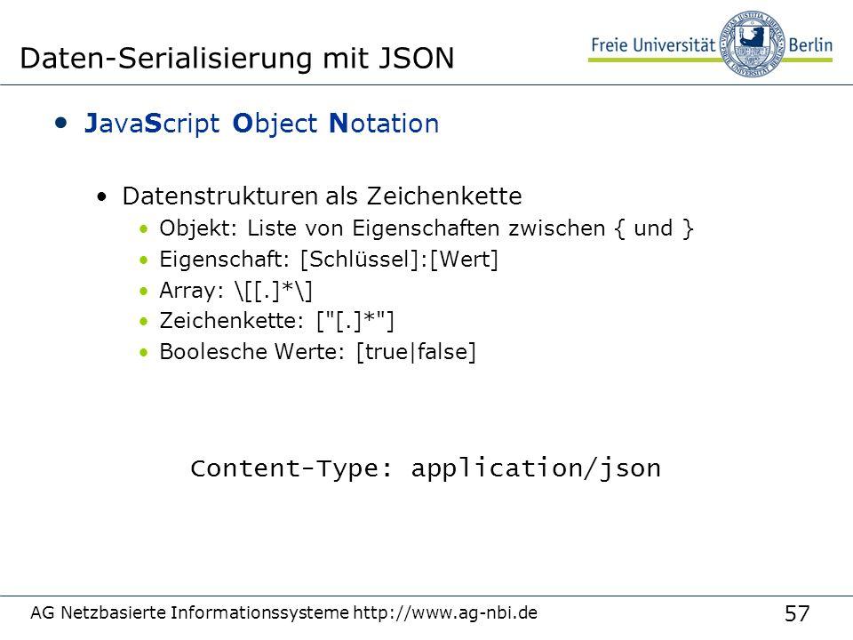 57 JavaScript Object Notation Datenstrukturen als Zeichenkette Objekt: Liste von Eigenschaften zwischen { und } Eigenschaft: [Schlüssel]:[Wert] Array: \[[.]*\] Zeichenkette: [ [.]* ] Boolesche Werte: [true|false] AG Netzbasierte Informationssysteme http://www.ag-nbi.de Daten-Serialisierung mit JSON Content-Type: application/json