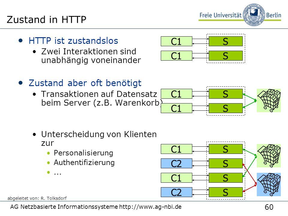 60 AG Netzbasierte Informationssysteme http://www.ag-nbi.de Zustand in HTTP HTTP ist zustandslos Zwei Interaktionen sind unabhängig voneinander Zustand aber oft benötigt Transaktionen auf Datensatz beim Server (z.B.