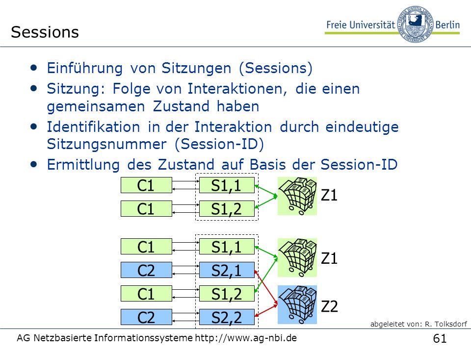 61 AG Netzbasierte Informationssysteme http://www.ag-nbi.de Sessions Einführung von Sitzungen (Sessions) Sitzung: Folge von Interaktionen, die einen gemeinsamen Zustand haben Identifikation in der Interaktion durch eindeutige Sitzungsnummer (Session-ID) Ermittlung des Zustand auf Basis der Session-ID C1S1,1 C2S2,1 C1S1,2 C2S2,2 C1S1,1 C1S1,2 Z1 Z2 abgeleitet von: R.