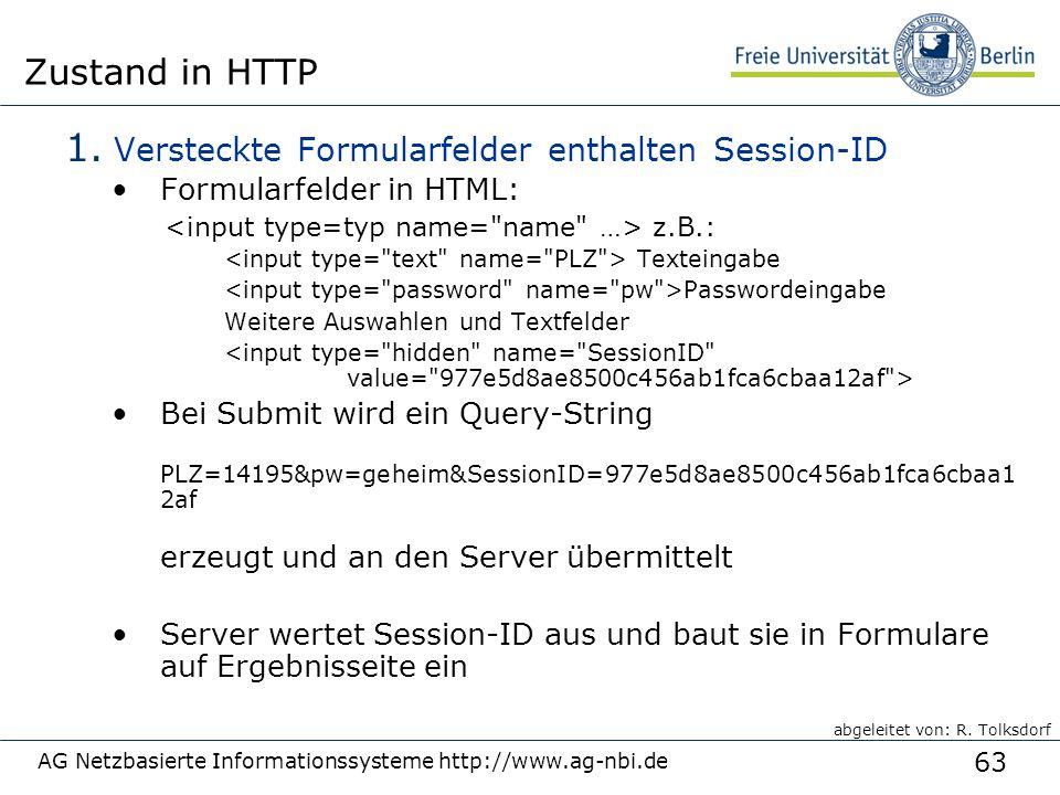 63 AG Netzbasierte Informationssysteme http://www.ag-nbi.de Zustand in HTTP 1.