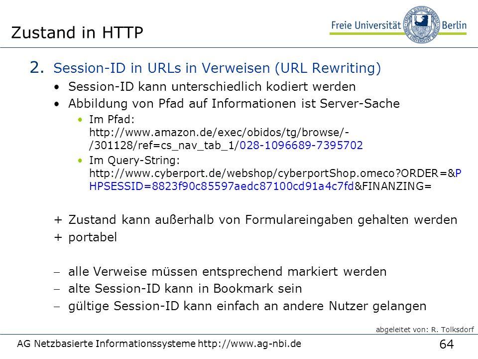 64 AG Netzbasierte Informationssysteme http://www.ag-nbi.de Zustand in HTTP 2.