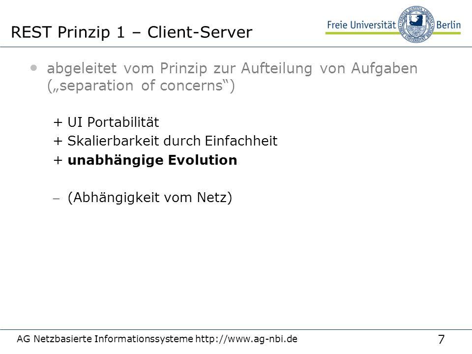 """7 abgeleitet vom Prinzip zur Aufteilung von Aufgaben (""""separation of concerns"""") +UI Portabilität +Skalierbarkeit durch Einfachheit +unabhängige Evolut"""