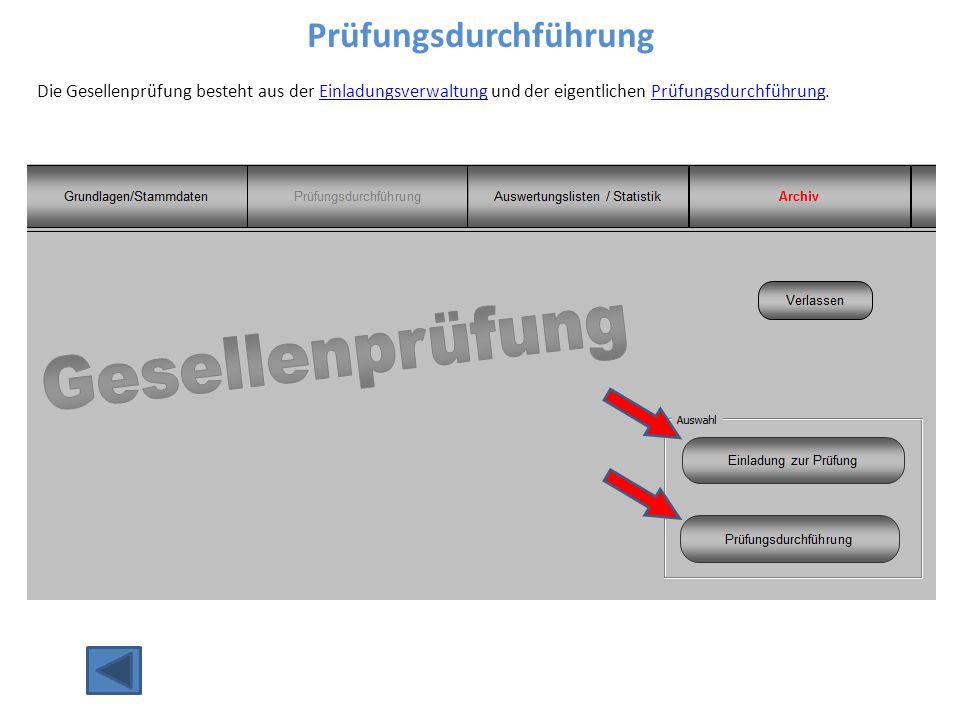 Prüfungsdurchführung Die Gesellenprüfung besteht aus der Einladungsverwaltung und der eigentlichen Prüfungsdurchführung.EinladungsverwaltungPrüfungsdurchführung