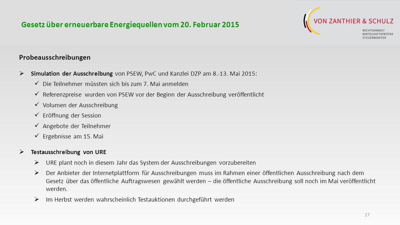 17 Probeausschreibungen  Simulation der Ausschreibung von PSEW, PwC und Kanzlei DZP am 8.-13.