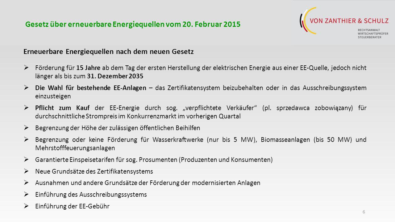 7 Gesetz über erneuerbare Energiequellen vom 20.