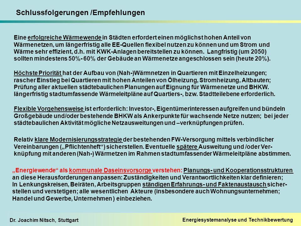 Dr. Joachim Nitsch, Stuttgart Energiesystemanalyse und Technikbewertung Schlussfolgerungen /Empfehlungen Eine erfolgreiche Wärmewende in Städten erfor