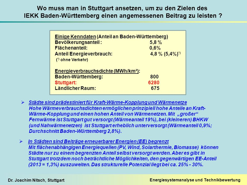 Dr. Joachim Nitsch, Stuttgart Wo muss man in Stuttgart ansetzen, um zu den Zielen des IEKK Baden-Württemberg einen angemessenen Beitrag zu leisten ? 