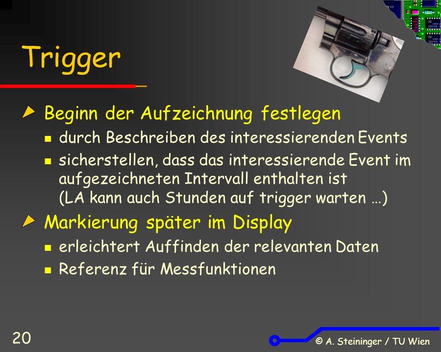 © A. Steininger / TU Wien 20 Trigger Beginn der Aufzeichnung festlegen durch Beschreiben des interessierenden Events sicherstellen, dass das interessi