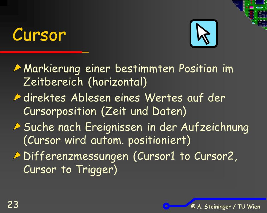 © A. Steininger / TU Wien 23 Cursor Markierung einer bestimmten Position im Zeitbereich (horizontal) direktes Ablesen eines Wertes auf der Cursorposit