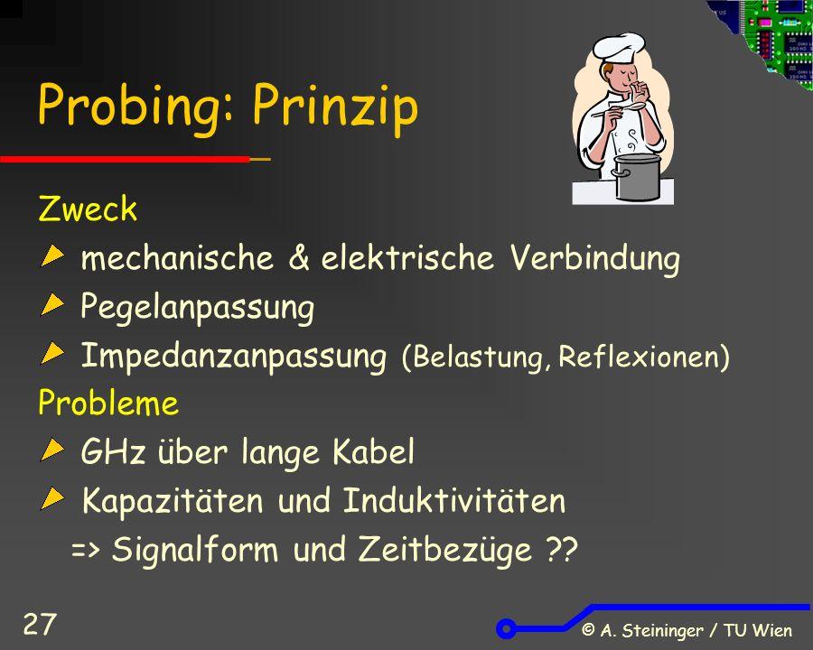 © A. Steininger / TU Wien 27 Probing: Prinzip Zweck mechanische & elektrische Verbindung Pegelanpassung Impedanzanpassung (Belastung, Reflexionen) Pro