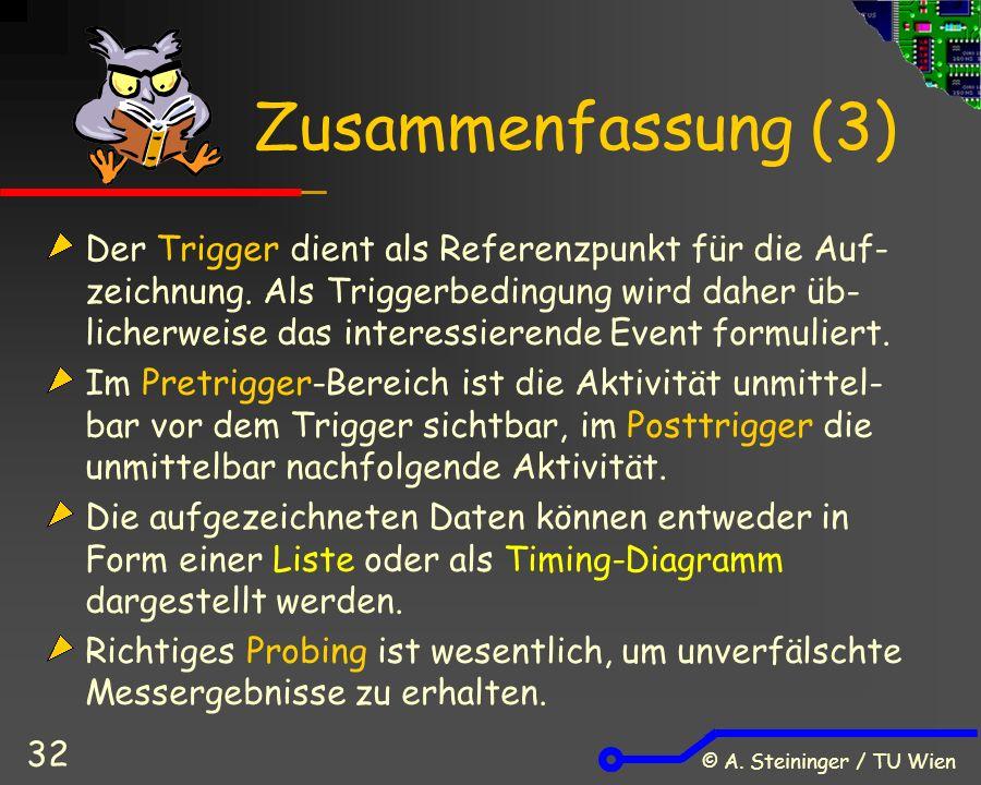 © A. Steininger / TU Wien 32 Zusammenfassung (3) Der Trigger dient als Referenzpunkt für die Auf- zeichnung. Als Triggerbedingung wird daher üb- liche