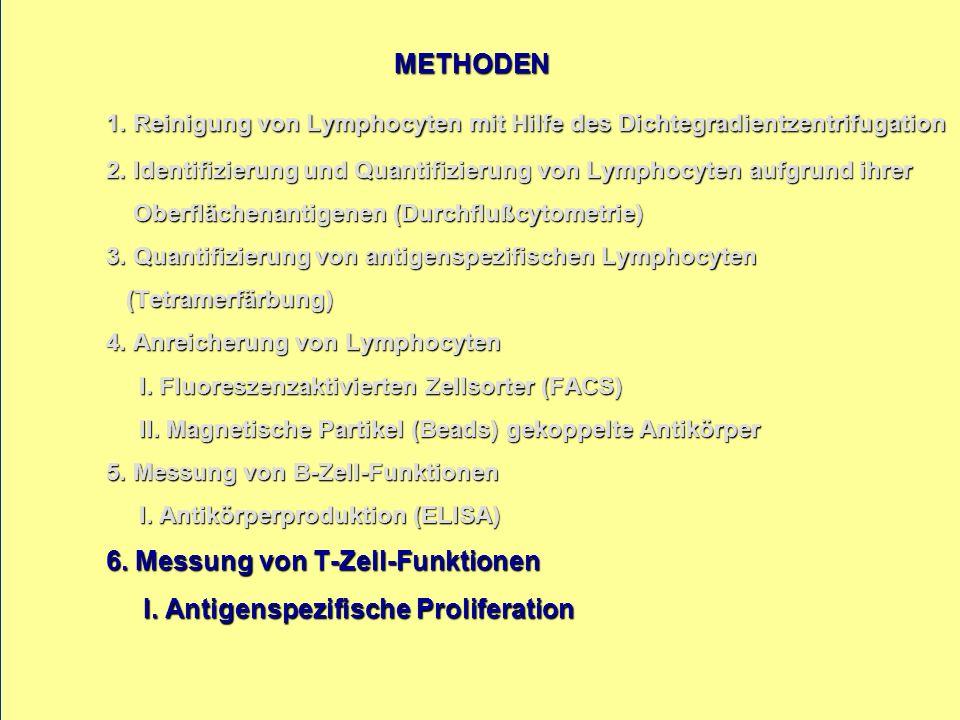 METHODEN 1. Reinigung von Lymphocyten mit Hilfe des Dichtegradientzentrifugation 2. Identifizierung und Quantifizierung von Lymphocyten aufgrund ihrer