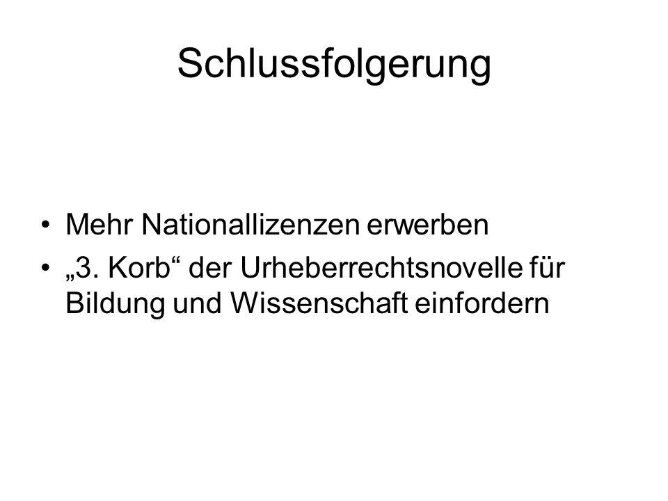 """Schlussfolgerung Mehr Nationallizenzen erwerben """"3."""
