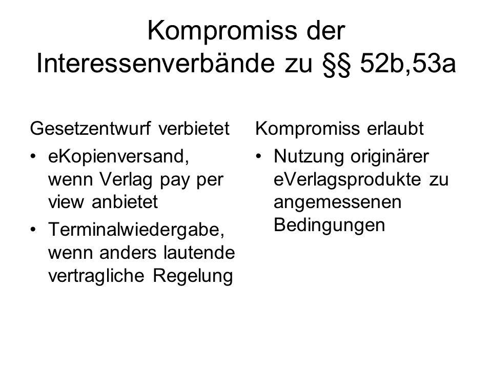 Kompromiss der Interessenverbände zu §§ 52b,53a Gesetzentwurf verbietet eKopienversand, wenn Verlag pay per view anbietet Terminalwiedergabe, wenn anders lautende vertragliche Regelung Kompromiss erlaubt Nutzung originärer eVerlagsprodukte zu angemessenen Bedingungen