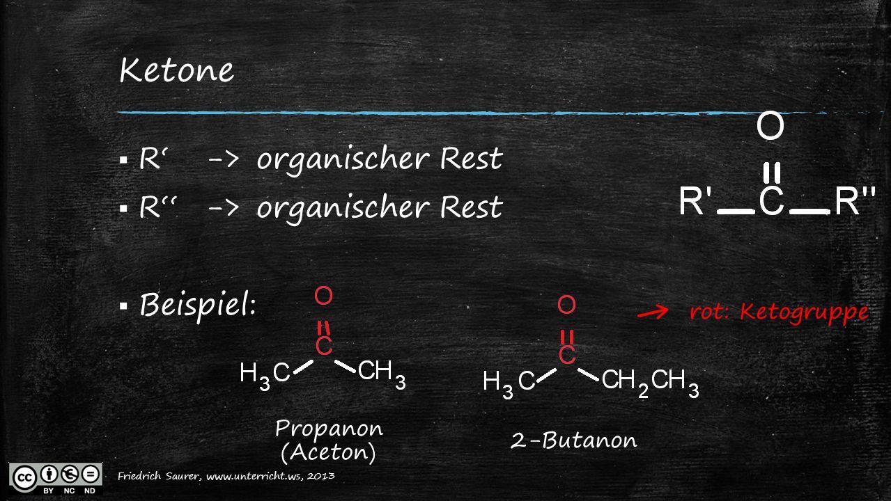 Friedrich Saurer, 2013, www.unterricht.ws Ketone  R'->organischer Rest  R''->organischer Rest  Beispiel: Propanon (Aceton) ← rot: Ketogruppe 2-Buta