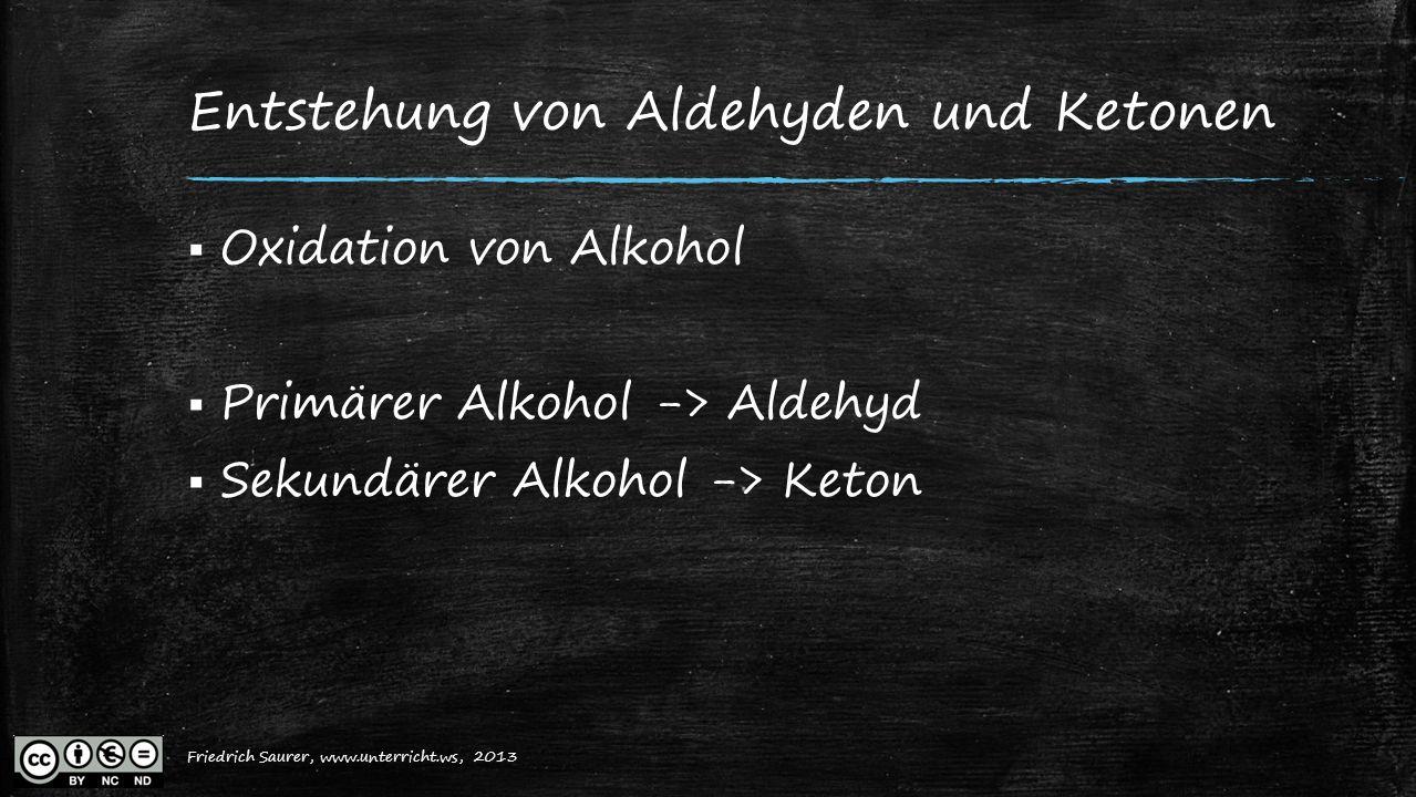 Friedrich Saurer, 2013, www.unterricht.ws Entstehung von Aldehyden und Ketonen  Oxidation von Alkohol  Primärer Alkohol -> Aldehyd  Sekundärer Alko