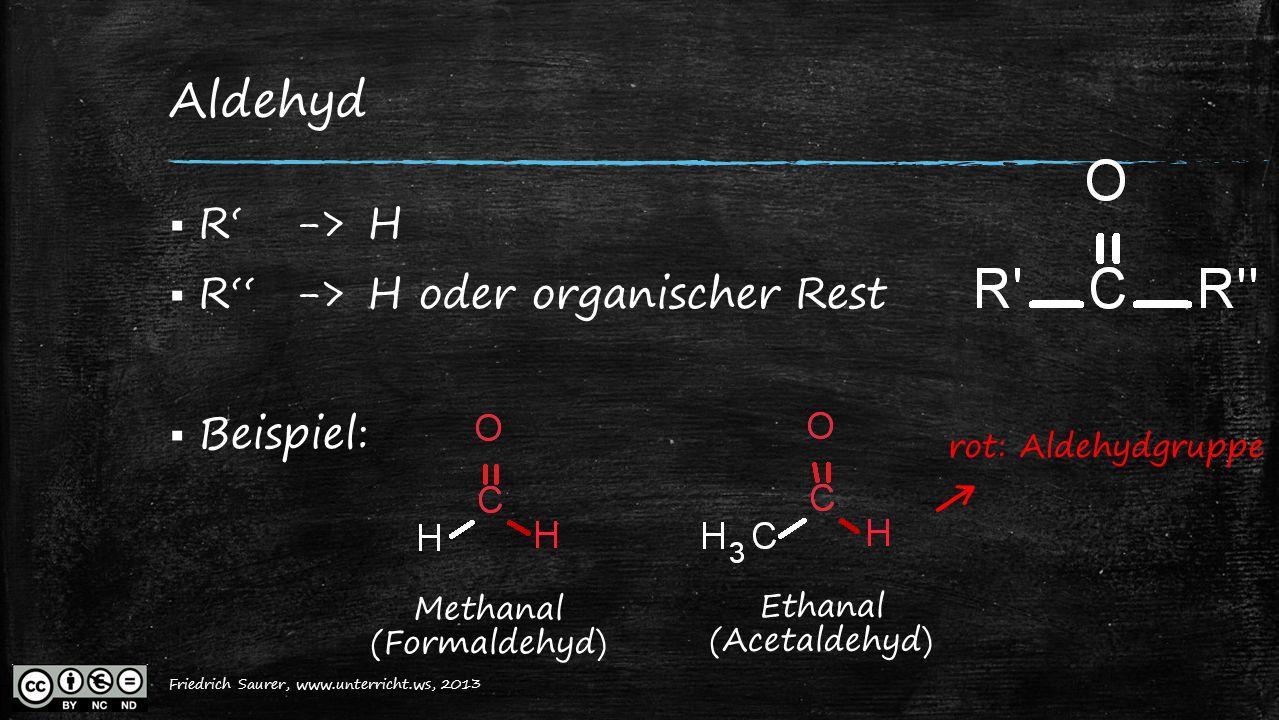 Friedrich Saurer, 2013, www.unterricht.ws Aldehyd  R'->H  R''->H oder organischer Rest  Beispiel: Methanal (Formaldehyd) Ethanal (Acetaldehyd) ← ro