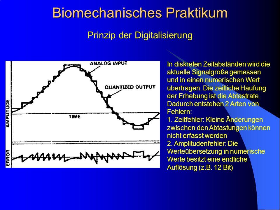 Prinzip der Digitalisierung Biomechanisches Praktikum In diskreten Zeitabständen wird die aktuelle Signalgröße gemessen und in einen numerischen Wert übertragen.