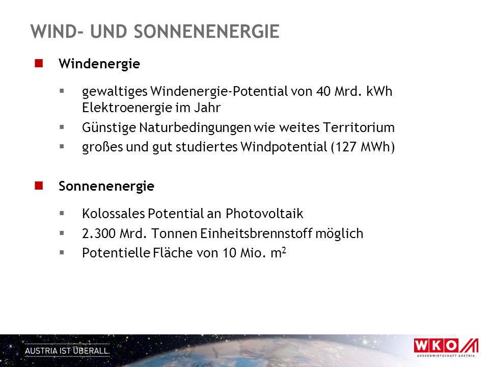 WIND- UND SONNENENERGIE Windenergie  gewaltiges Windenergie-Potential von 40 Mrd. kWh Elektroenergie im Jahr  Günstige Naturbedingungen wie weites T
