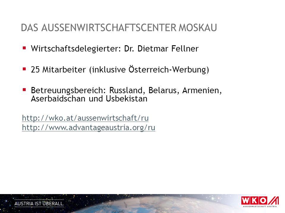 DAS AUSSENWIRTSCHAFTSCENTER MOSKAU  Wirtschaftsdelegierter: Dr. Dietmar Fellner  25 Mitarbeiter (inklusive Österreich-Werbung)  Betreuungsbereich: