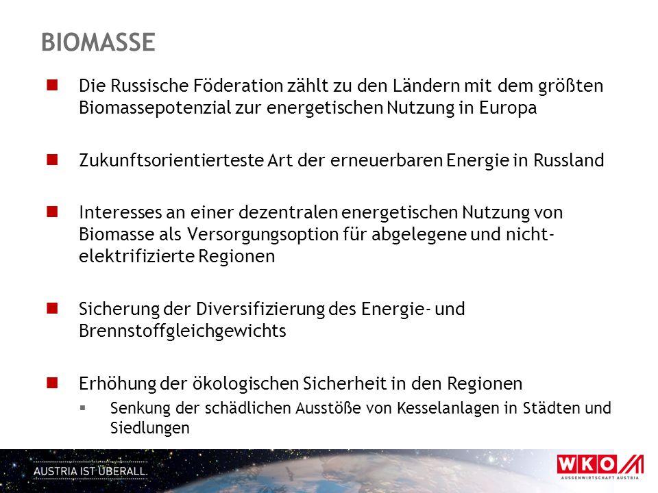 BIOMASSE Die Russische Föderation zählt zu den Ländern mit dem größten Biomassepotenzial zur energetischen Nutzung in Europa Zukunftsorientierteste Ar