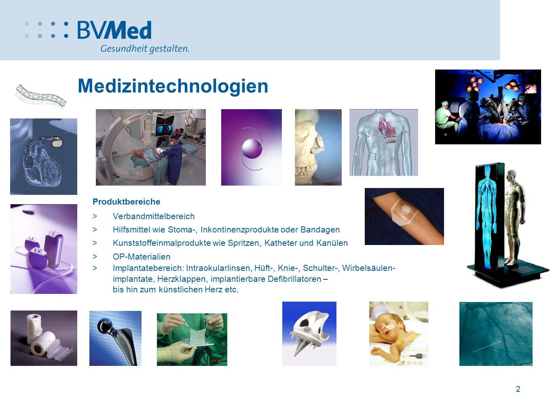 2 Medizintechnologien Produktbereiche  Verbandmittelbereich  Hilfsmittel wie Stoma-, Inkontinenzprodukte oder Bandagen  Kunststoffeinmalprodukte wi