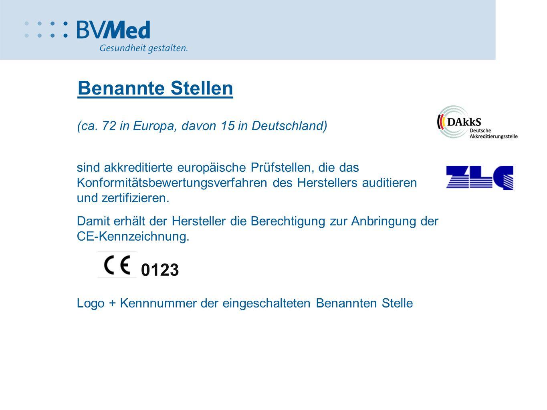 (ca. 72 in Europa, davon 15 in Deutschland) sind akkreditierte europäische Prüfstellen, die das Konformitätsbewertungsverfahren des Herstellers auditi