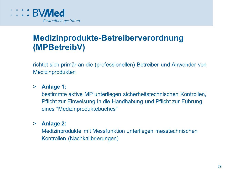 29 Medizinprodukte-Betreiberverordnung (MPBetreibV) richtet sich primär an die (professionellen) Betreiber und Anwender von Medizinprodukten  Anlage