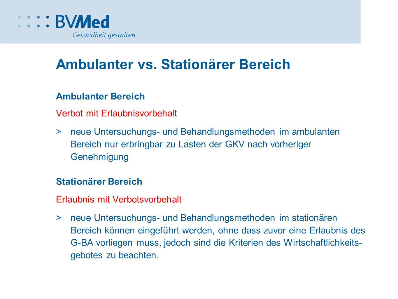 Ambulanter vs. Stationärer Bereich Ambulanter Bereich Verbot mit Erlaubnisvorbehalt  neue Untersuchungs- und Behandlungsmethoden im ambulanten Bereic