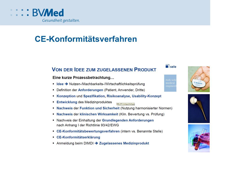Medizinprodukte Rechtsgrundlagen 90/385/EWG Richtlinie über AIMPe 93/42/EWG Richtlinie über Medizin- produkte MPG MPV MPSV 98/79/EG Richtlinie über IVD MPBetreib V DIMDIV MPAV MP- GebührenV Rahmengesetz Konformitäts bewertung Vigilanz-System Betreiber-/ Anwendervorschr Gebühren.