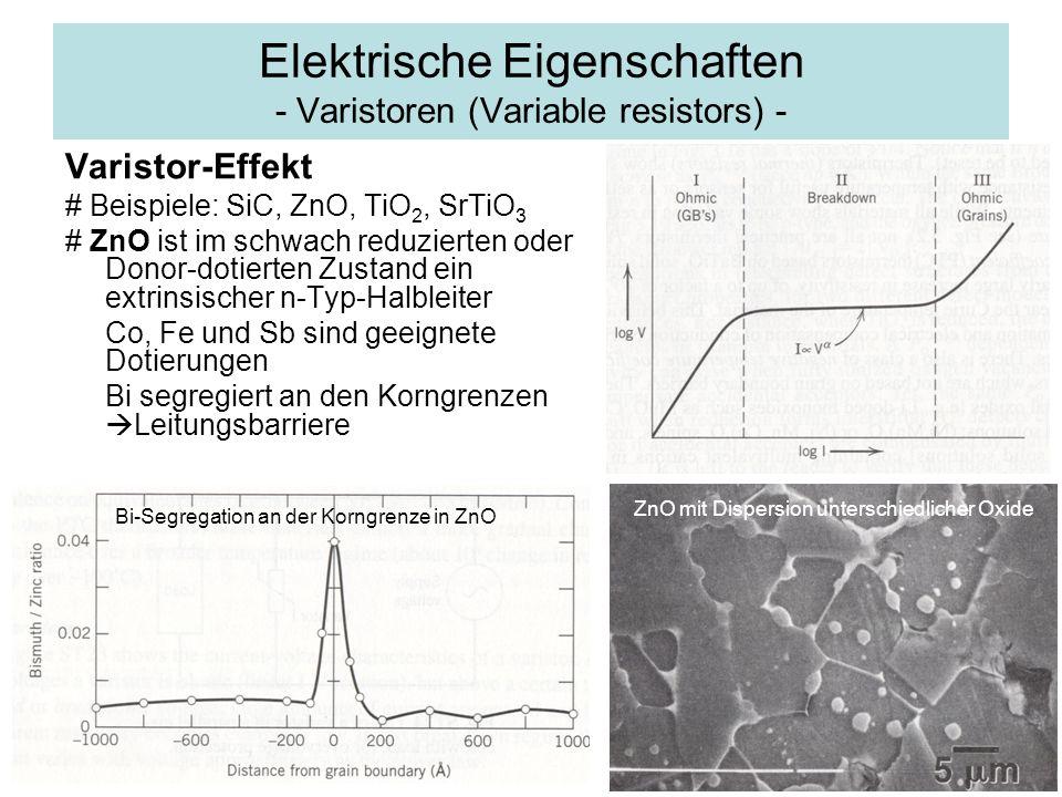 Elektrische Eigenschaften - Varistoren (Variable resistors) - Varistor-Effekt # Beispiele: SiC, ZnO, TiO 2, SrTiO 3 # ZnO ist im schwach reduzierten o