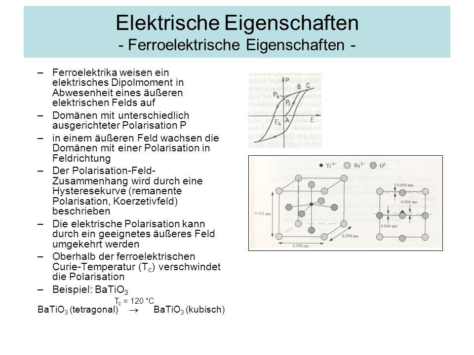 Elektrische Eigenschaften - Ferroelektrische Eigenschaften - –Ferroelektrika weisen ein elektrisches Dipolmoment in Abwesenheit eines äußeren elektris