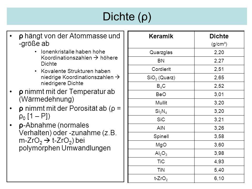 Dichte (ρ) ρ hängt von der Atommasse und -größe ab Ionenkristalle haben hohe Koordinationszahlen  höhere Dichte Kovalente Strukturen haben niedrige K