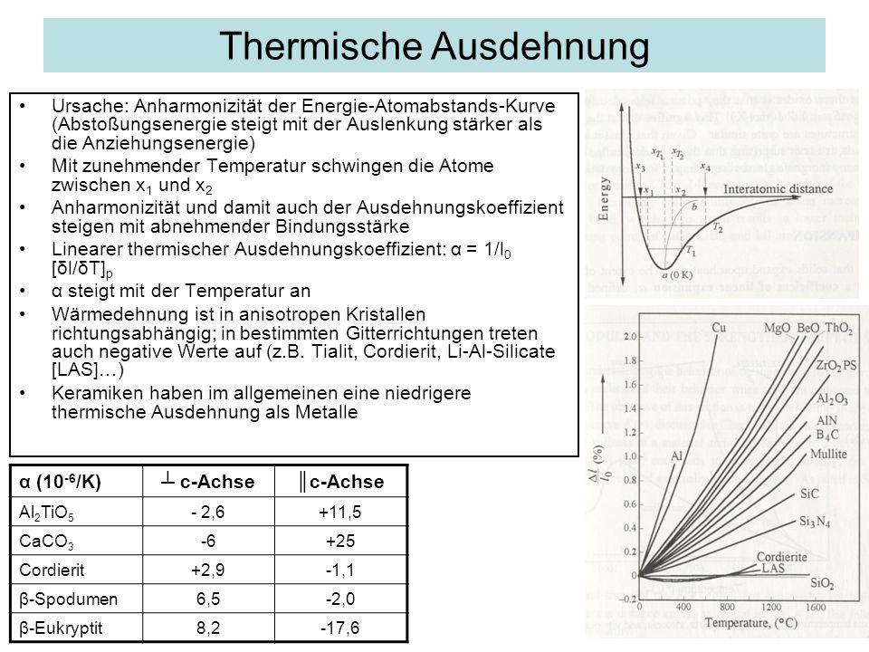 Thermische Ausdehnung Ursache: Anharmonizität der Energie-Atomabstands-Kurve (Abstoßungsenergie steigt mit der Auslenkung stärker als die Anziehungsen