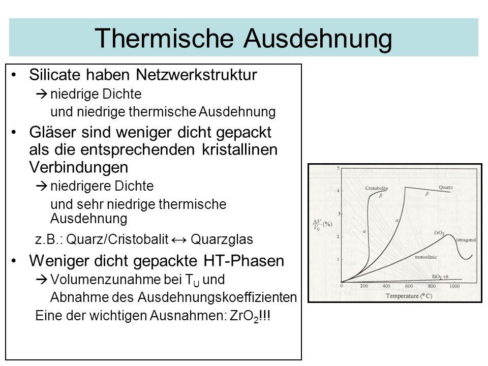 Thermische Ausdehnung Silicate haben Netzwerkstruktur  niedrige Dichte und niedrige thermische Ausdehnung Gläser sind weniger dicht gepackt als die e