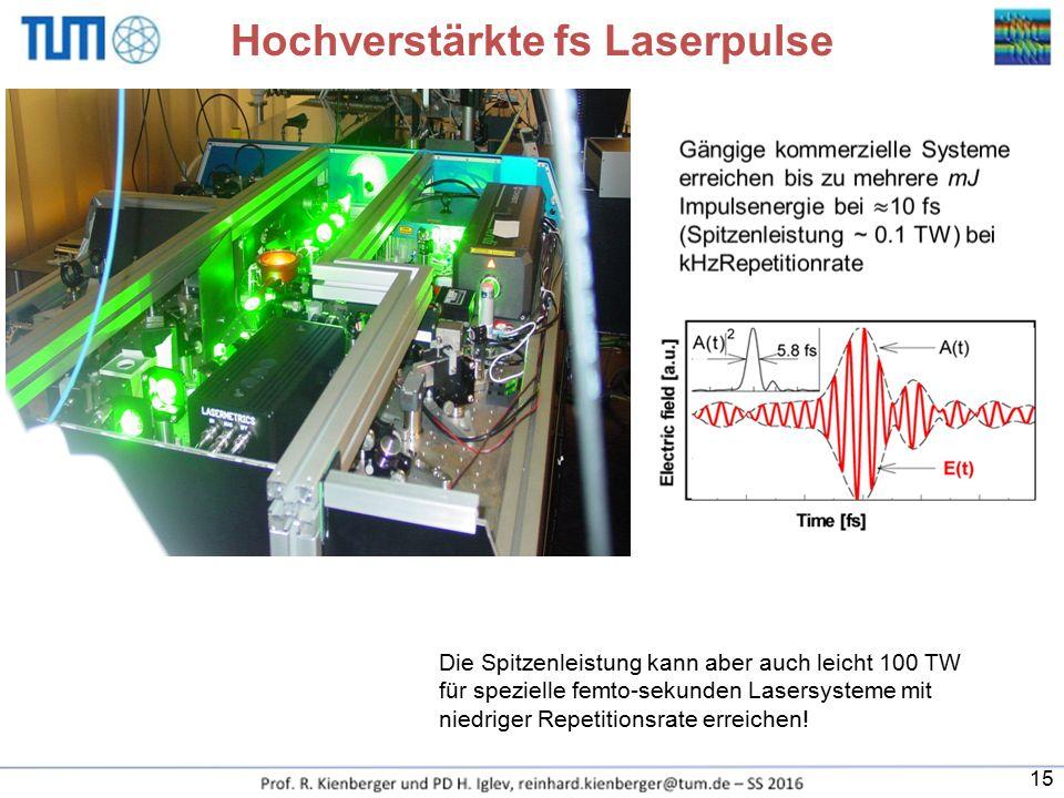 Hochverstärkte fs Laserpulse Die Spitzenleistung kann aber auch leicht 100 TW für spezielle femto-sekunden Lasersysteme mit niedriger Repetitionsrate