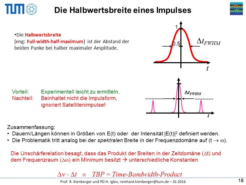 Die Halbwertsbreite (eng: Full-width-half-maximum) ist der Abstand der beiden Punke bei halber maximaler Amplitude. Vorteil: Experimentell leicht zu e