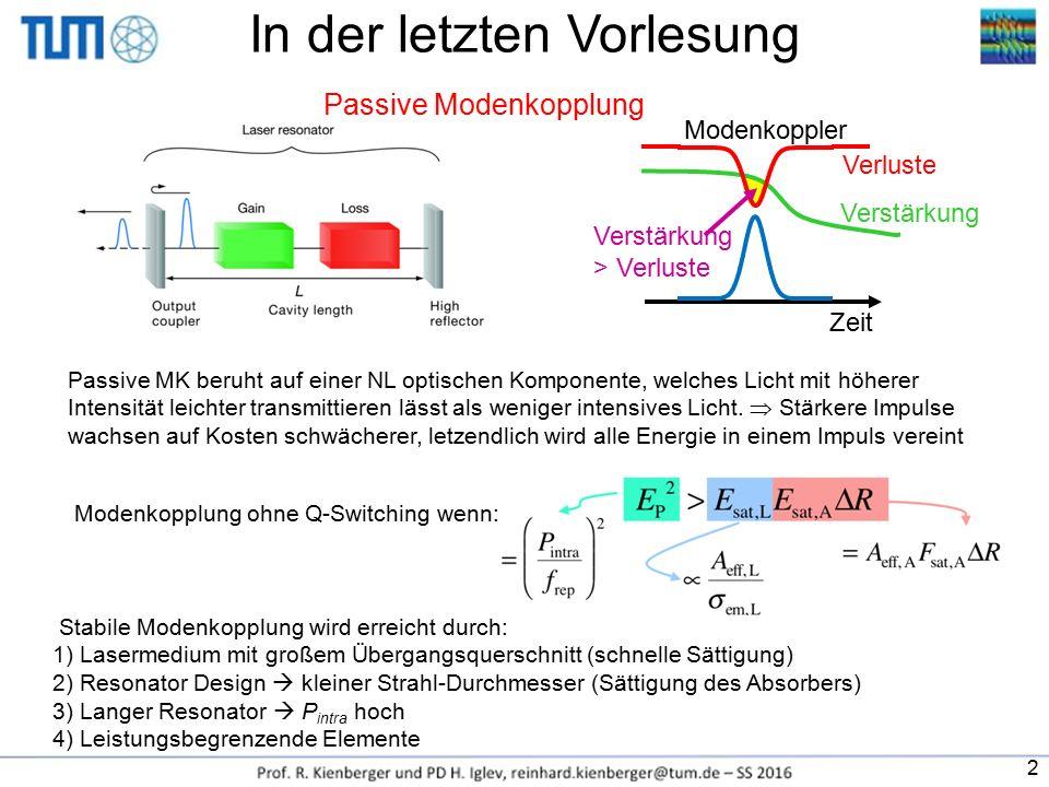 In der letzten Vorlesung Passive Modenkopplung Passive MK beruht auf einer NL optischen Komponente, welches Licht mit höherer Intensität leichter tran