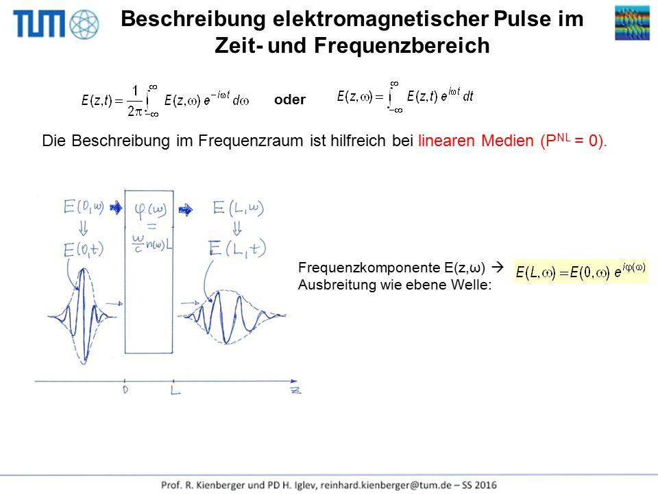 Beschreibung elektromagnetischer Pulse im Zeit- und Frequenzbereich oder Die Beschreibung im Frequenzraum ist hilfreich bei linearen Medien (P NL = 0)