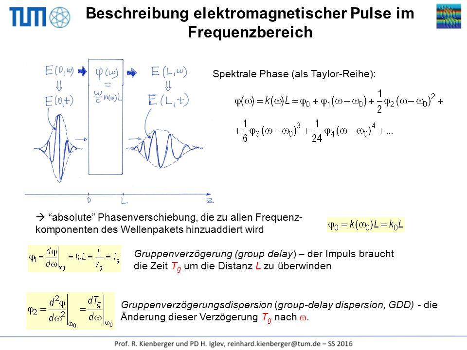 """Beschreibung elektromagnetischer Pulse im Frequenzbereich Spektrale Phase (als Taylor-Reihe):  """"absolute"""" Phasenverschiebung, die zu allen Frequenz-"""