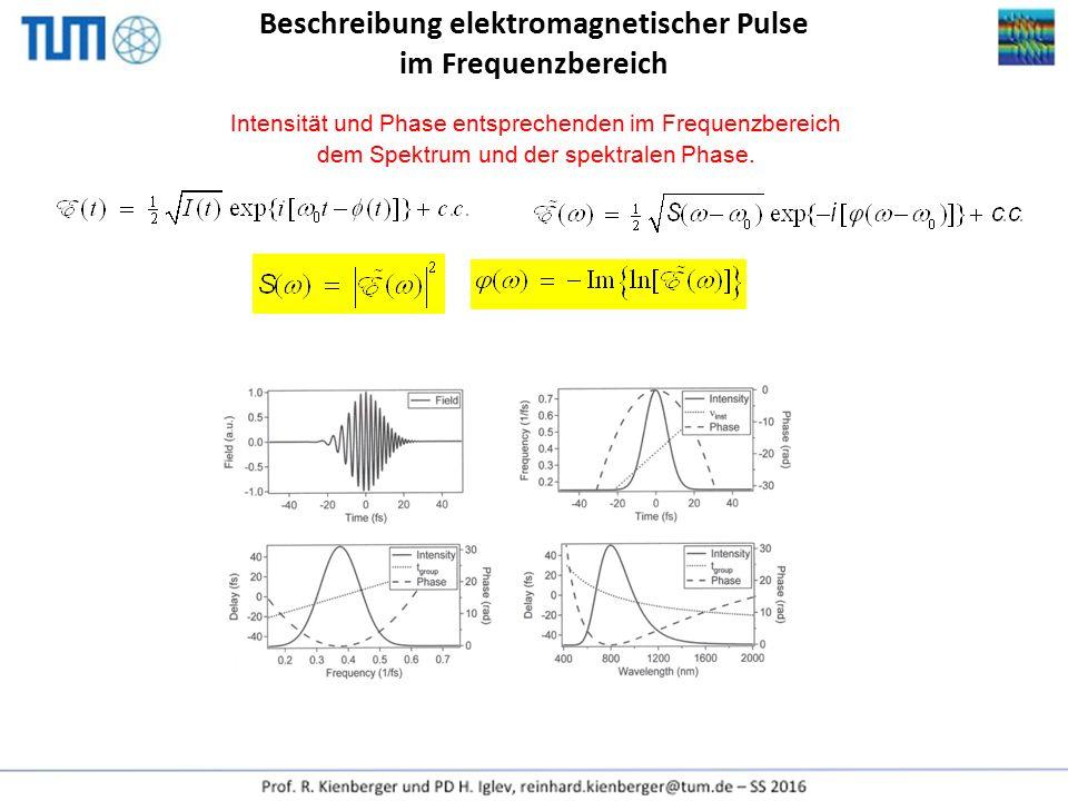 Beschreibung elektromagnetischer Pulse im Frequenzbereich Intensität und Phase entsprechenden im Frequenzbereich dem Spektrum und der spektralen Phase