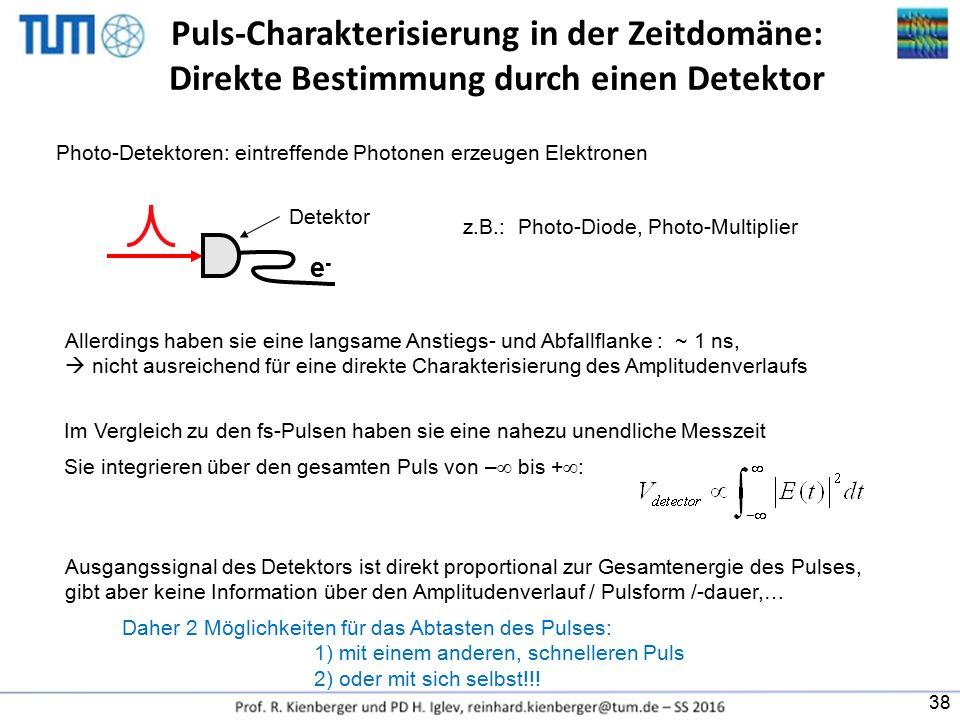 Puls-Charakterisierung in der Zeitdomäne: Direkte Bestimmung durch einen Detektor z.B.: Photo-Diode, Photo-Multiplier Allerdings haben sie eine langsa