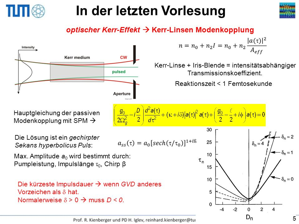Ein Laserpuls in der Zeitdomäne: Intensität Phase Im Frequenzraum formulieren: Spektrale Phase (negative Frequenzkomponenten sind zu vernachlässigen) Spektrum Die Kenntnis der Intensität und Phase oder gleichwertig Spektrum und spektrale Phase ist ausreichend, um den kompletten Impuls zu beschreiben.