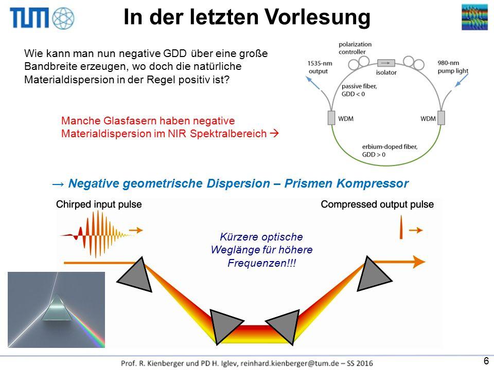 Wie kann man nun negative GDD über eine große Bandbreite erzeugen, wo doch die natürliche Materialdispersion in der Regel positiv ist? Manche Glasfase