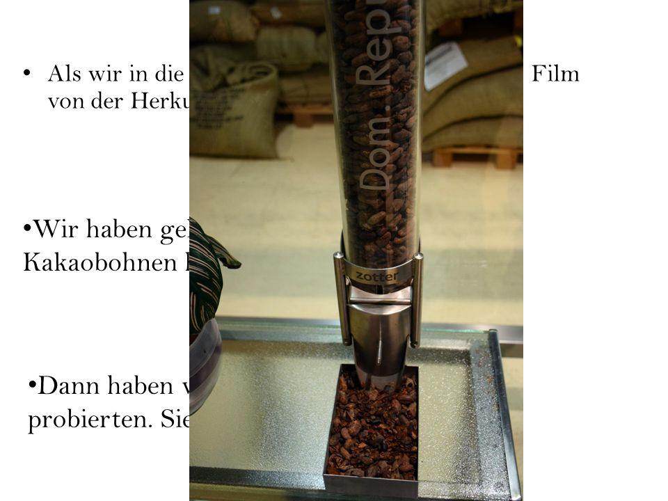 Als wir in die Fabrik kammen, haben wir einen Film von der Herkunft der Kakaobohnen gesehen.